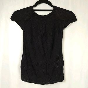 Roberto Cavalli Cap Sleeved Lace Knit Top XS